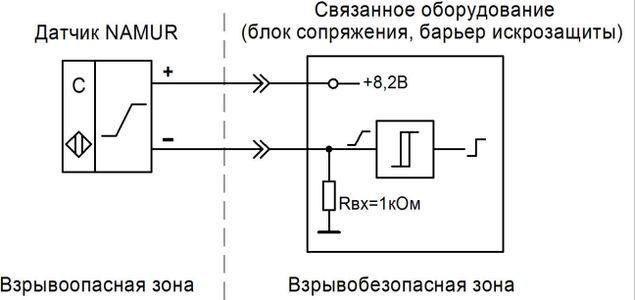 Схема подключения взрывозащищённого емкостного датчика к блоку сопряжению