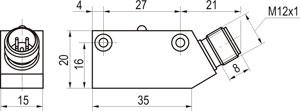 Габаритный чертеж магниточувствительного герконового датчика