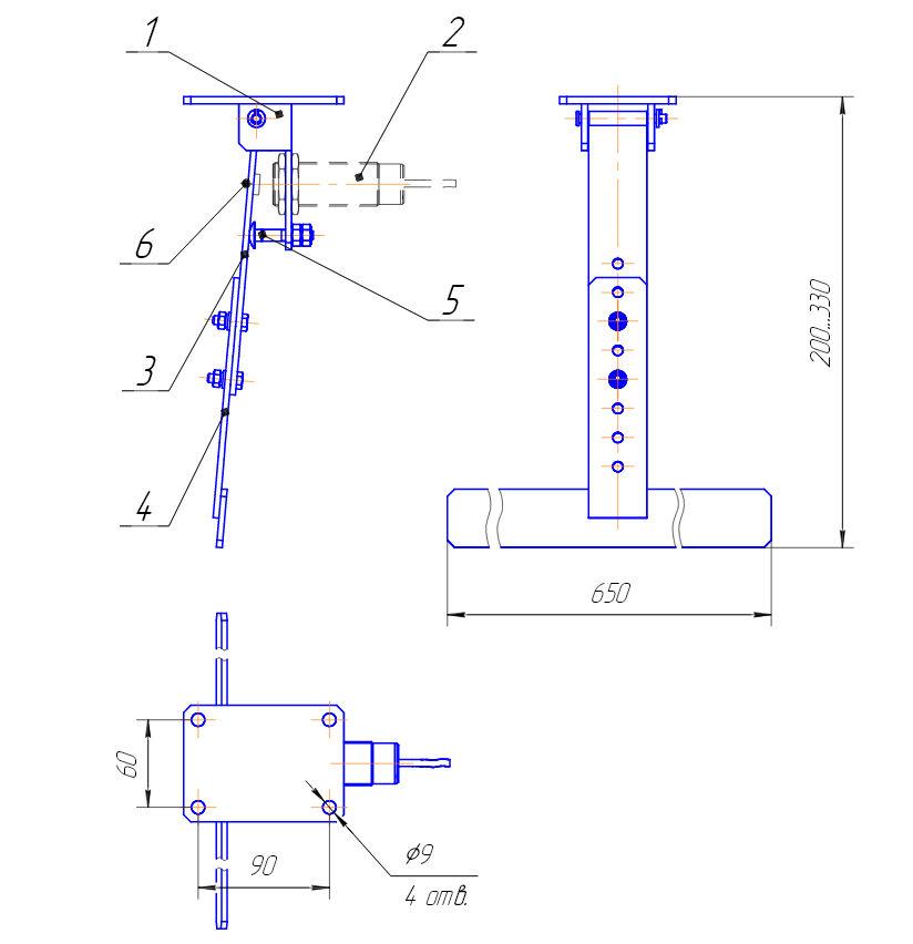 Габаритный чертёж устройства УКПР 1