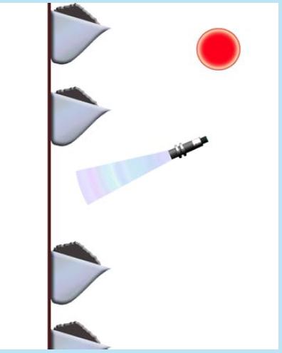 отражённый ультразвуковой сигнал при отсутствии ковша